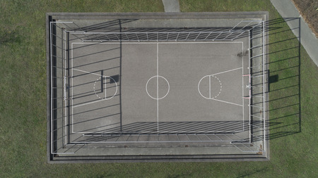Public Basketball and soccer sport court - Tops down aerial image