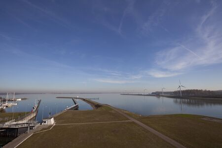 The Volkerak water locks, part of the Dutch Delta Works and the largest inland water locks in Europe