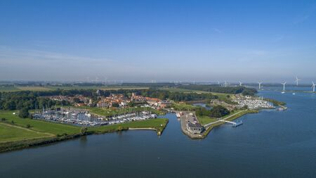 Aerial view of the fortified city of Willemstad, Moerdijk in the Province of Noord-Brabant, Netherlands. Star fortifications were developed in the late fifteenth centuries Stock Photo