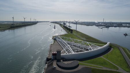 Aerial picture of Maeslantkering storm surge barrier on the Nieuwe Waterweg Netherlands it closes if the city of Rotterdam is threatened by floods and is one of largest moving structures on earth 版權商用圖片