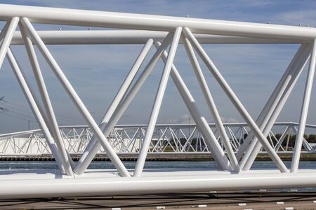 Maeslantkering storm surge barrier on the Nieuwe Waterweg Netherlands it closes if the city of Rotterdam is threatened by floods and is one of largest moving structures on earth Stockfoto