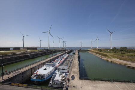 Krammersluizen lake krammer. Drone photograpy from the delta works in Zeeland in the Netherlands Stockfoto