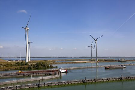 Volkeraksluizen lake krammer. Drone photograpy from the delta works in noord brabant in the Netherlands