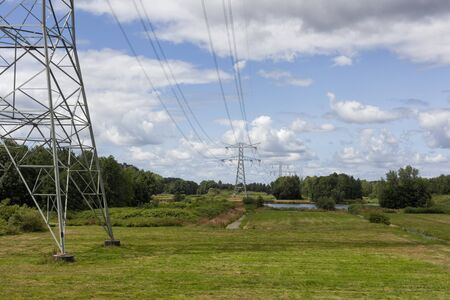 Electrical Transmission Towers and beautiful nature landscape