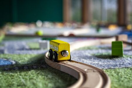 pack of colorful child kid's education toys constructor train pattern background on the bright color background close up. Childhood education play infancy children baby concept Stockfoto