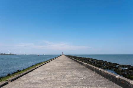 breakwater Hoek van Holland in the Netherlands on a sunny day