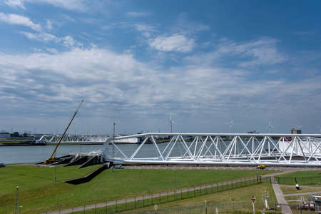 Aerial picture of Maeslantkering storm surge barrier closes if the city of Rotterdam is threatened by floods and is one of largest moving structures