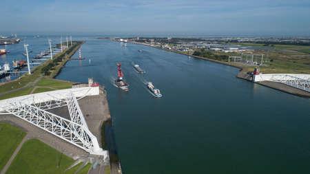 Aerial picture of Maeslantkering storm surge barrier on the Nieuwe Waterweg Netherlands