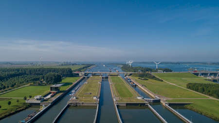Volkeraksluizen Hollands Diep. Drone photograpy from the delta works in the netherlands in the Netherlands