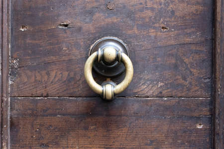 Metal knobs with decorative elements on a wooden door