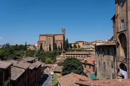 Basilica of San Domenico from Siena, Italy 免版税图像