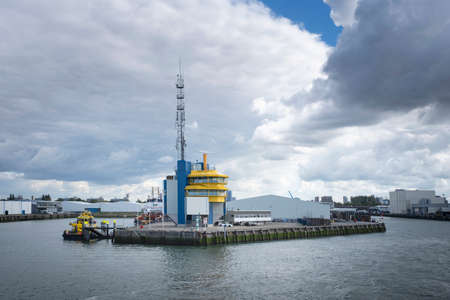 Port of Rotterdam VHF Radio Station and Traffic Centre, located between Lekhaven and Ijsselhaven. Stock Photo