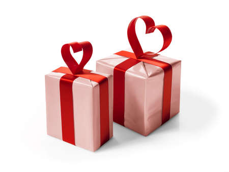 Pink Gift box with red ribbon on white background