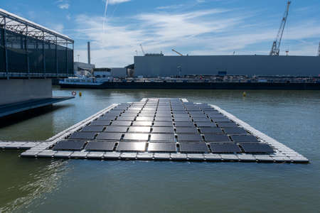 solar panel Floating on the water. Used to produce electricity in a clean technology concept.