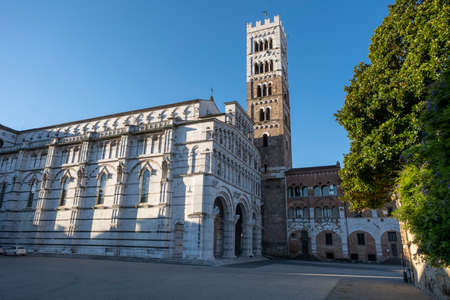 View of Lucca Cathedral, a Roman Catholic cathedral dedicated to Saint Martin of Tours in Lucca, Tuscany, Italy.