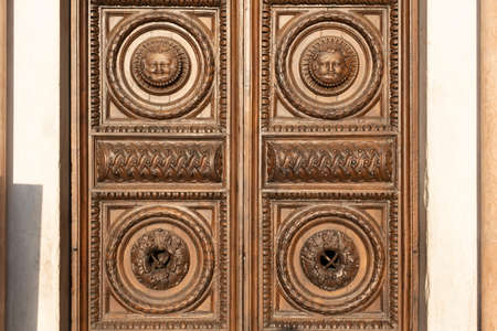 Old wooden door with vintage ornaments