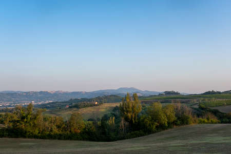 Landscape in Tuscany at sunset in summertime