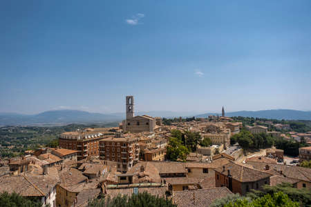 Perugia skyline in the sunshine day. Italy.