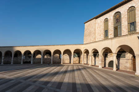 Assisi external of St. Francis basilica, one of the most important Italian religious sites.