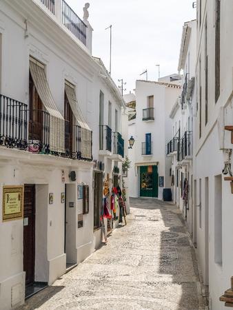 view of a street in frigiliana, pueblo blanco, spain Editorial