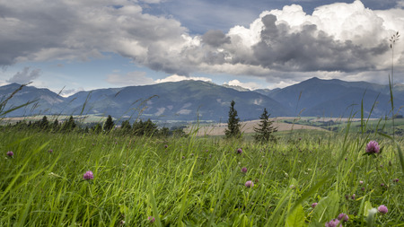liptov: View of High Tatras from a hill near Liptovsky Mikulas