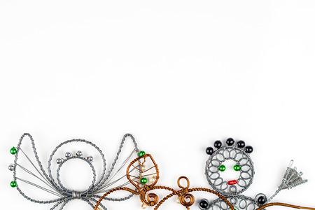 steel wool: steel wool Christmas symbols on white background Stock Photo