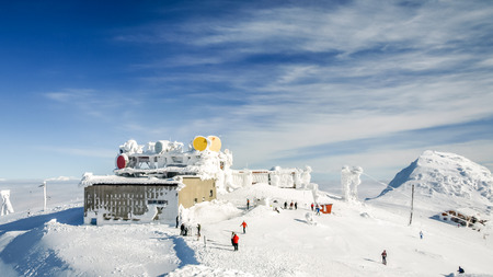 view of the top of Chopok in winter, Low Tatras in slovakia during a freeze day in january photo