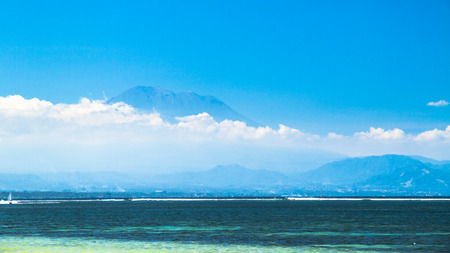 sanur: view of a volcano in bali from sanur