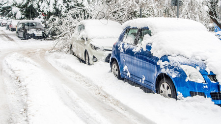 driving conditions: extreme snowfall in european city
