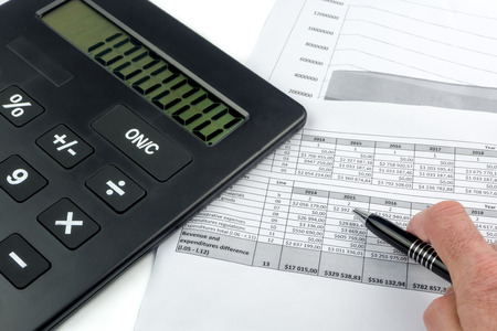prediction: calculator and future prediction papers business background Stock Photo