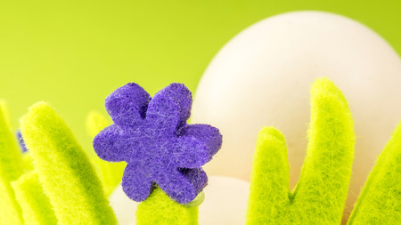 closeup view of eggs in green basket with easter theme on green background photo