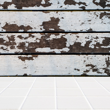 lath in modern: wall made of vintage style wood and floor made of modern beige ceramic mosaic