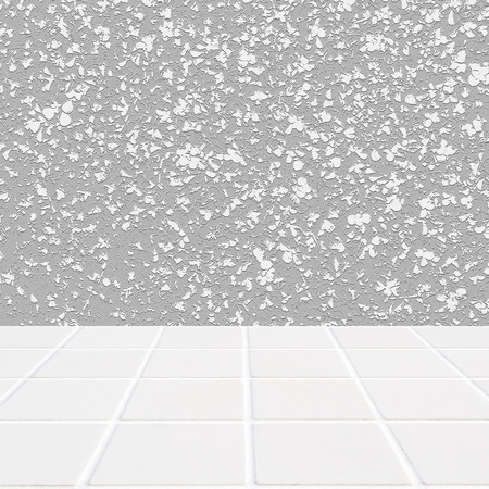 mosaic floor: Wall made of four-leaf abstract grey and floor made of modern beige ceramic mosaic