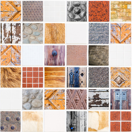 very special white ceramic tile with 36 squares in square form made of different themes, colors and materials photo