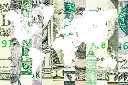 liquidity: american dollar as the world reserve currency with white map of the world