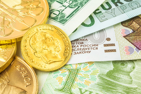 cash: four currencies and gold coins in one place