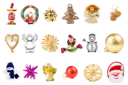 golden ball: many different christmas decoration on white background with variation in color, material and shapes