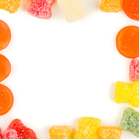 sweeties: frame made of multicolored sweeties in rectangle form Stock Photo