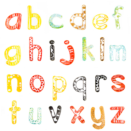 lower case: multicolored lower case alphabet with funny subtext