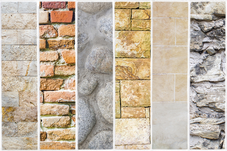 unequal: six different variation of stone and brick walls