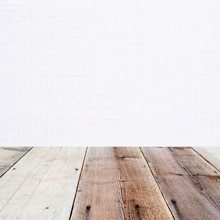 lath in modern: white little mosaic background and wooden floor in the front as a surface