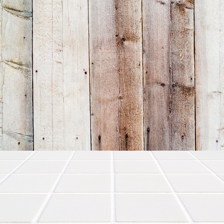 mosaic floor: old wooden background and white mosaic floor in the front