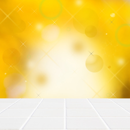 miscellaneous: abstract yellow wall with miscellaneous grafic ellements with white ceramic mosaic floor in the front part of the image Stock Photo