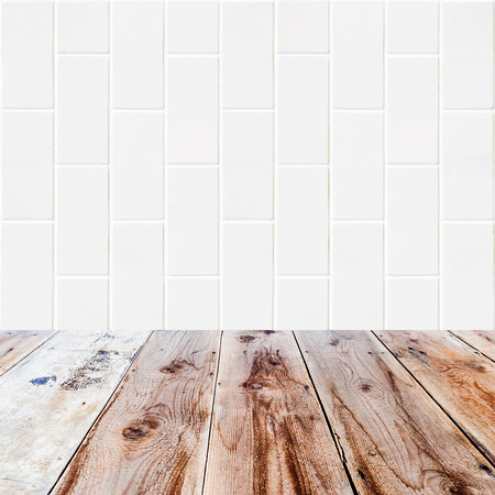 lath in modern: white bricks background and wooden floor in the front as a surface