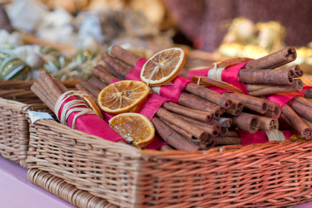 combination of shapes and fragrances on christmas market in an european city, very strong cinnamon fragrance Stock Photo
