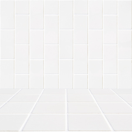 mosaic floor: white rectangle bricks background and white mosaic floor in the front Stock Photo