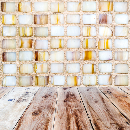 lath in modern: multicolored mosaic background and wooden floor in the front as a surface