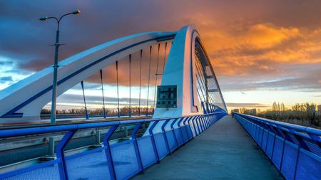 Apollo bridge in Bratislava, Slovakia with nice sunset sky