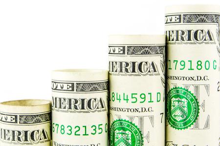 cash money: el aumento de escalones de una billetes de un d�lar americano en blanco bakground