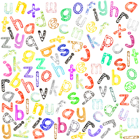 lower case: Multicoloured lower case alphabet with funny subtext, created with multicoloured ink and rubberstamp letters not seamless